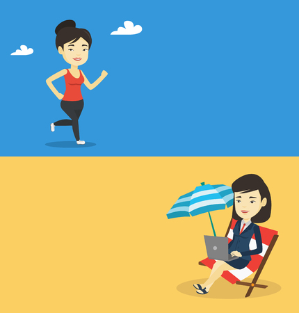 Two lifestyle banners with space for text. Vector flat design. Horizontal layout. Young cheerful asian woman running. Full length of a smiling female athlete running. Sportswoman in sportswear running