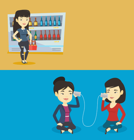 lady on phone: Two lifestyle banners with space for text. Vector flat design. Horizontal layout. Asian women discussing something using tin can telephone. Young woman getting message from friend on tin can phone. Illustration