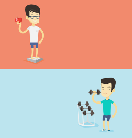 Two lifestyle banners with space for text. Vector flat design. Horizontal layout. Young sporty man lifting heavy weight dumbbell. Sportsman doing exercise with dumbbell. Weightlifter holding dumbbell. Illustration