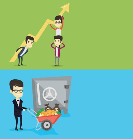 Two business banners with space for text. Vector flat design. Horizontal layout. Rich businessman depositing money in bank safe. Rich man pushing wheelbarrow with money on the background of bank safe.