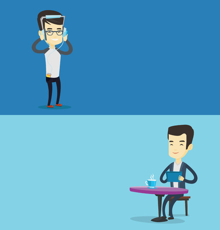 Two media banners with space for text. Vector flat design. Horizontal layout. Asian man using a tablet computer in a cafe. Man surfing in the social network. Man rewriting in social network in a cafe. Illustration