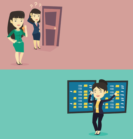 Two business banners with space for text. Vector flat design. Horizontal layout. Business woman showing key on the background of woman looking at door. Concept of making the right decision in business