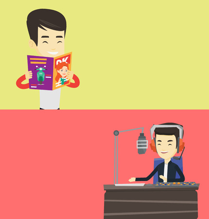 Two media banners with space for text. Vector flat design. Horizontal layout. Asian radio dj working on a radio station. Radio dj working in front of microphone, computer and mixing console on radio. Illustration