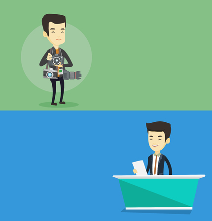 Two media banners with space for text. Vector flat design. Horizontal layout. Television anchorman reporting tv news at studio. Young asian television announcer at studio during live broadcasting.