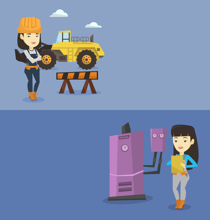 Two construction banners with space for text. Vector flat design. Horizontal layout. Plumber making notes in clipboard. Plumber inspecting heating system in boiler room. Plumber in overalls at work.