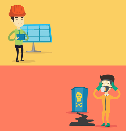 contamination: Two ecology banners with space for text. Vector flat design. Horizontal layout. Man in radiation protective suit clutching head. Man in radiation suit looking at leaking barrel with radiation sign.