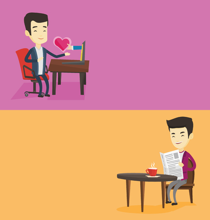 Two media banners with space for text. Vector flat design. Horizontal layout. Man reading newspaper in a cafe. Man reading the news in newspaper. Man sitting with newspaper in cafe and drinking coffee Illustration