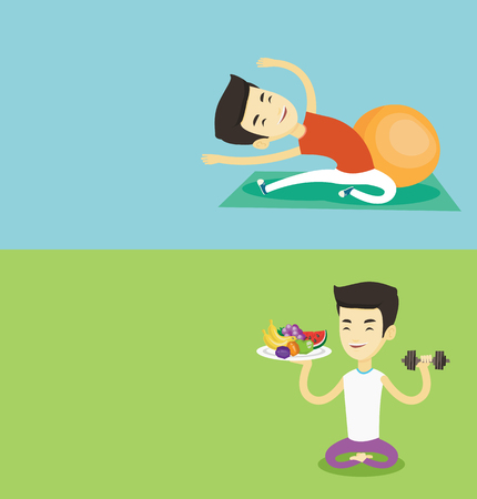 Two lifestyle banners with space for text. Vector flat design. Horizontal layout. Man doing stretching on exercise mat. Sportsman stretching before training. Caucasian man doing stretching exercises.