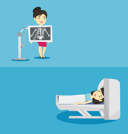 Two medical banners with space for text. Vector flat design. Horizontal layout. Young asian woman undergoes a magnetic resonance imaging scan test. Magnetic resonance imaging machine scanning patient.