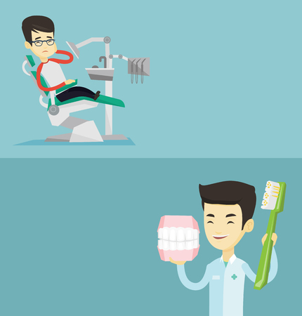 Two medical banners with space for text. Vector flat design. Horizontal layout. Young asian dentist holding dental jaw model and a toothbrush in hands. Dentist showing dental jaw model and toothbrush.