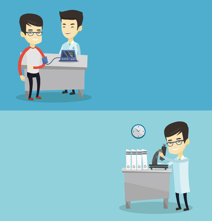 Two medical banners with space for text. Vector flat design. Horizontal layout. Asian laboratory assistant working with microscope. Scientist working at the laboratory. Scientist using a microscope.