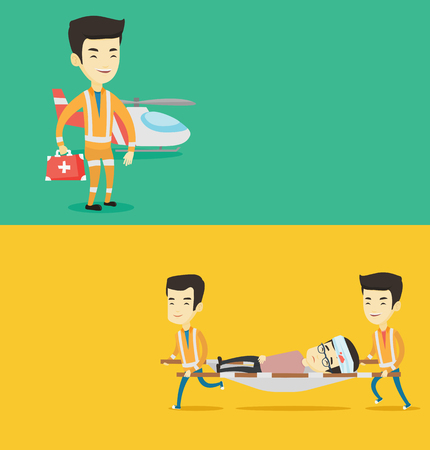 Two medical banners with space for text. Vector flat design. Horizontal layout. Emergency doctors transporting victim on stretcher. Emergency doctors carrying injured asian man on medical stretcher.