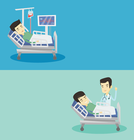 Two medical banners with space for text. Vector flat design. Horizontal layout. Doctor visiting patient. Doctor pointing finger up during visiting of patient. Man lying in bed while doctor visits him.