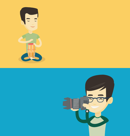 Two media banners with space for text. Vector flat design. Horizontal layout. Asian mucisian playing ethnic drum. Young man with eyes closed playing ethnic drum. Man playing ethnic music on tom-tom. Çizim