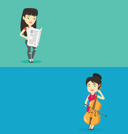 Two media banners with space for text. Vector flat design. Horizontal layout. Young asian musician playing cello. Cellist playing classical music on cello. Young female musician with cello and bow.