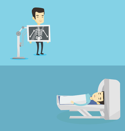 Two medical banners with space for text. Vector flat design. Horizontal layout. Young asian man during chest x ray procedure. Man with x ray screen showing skeleton. Patient visiting roentgenologist. Illustration