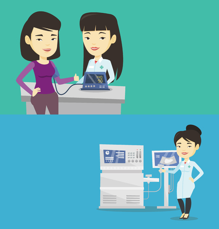Two medical banners with space for text. Vector flat design. Horizontal layout. Young patient checking blood pressure with digital blood pressure meter. Doctor measuring blood pressure of patient.