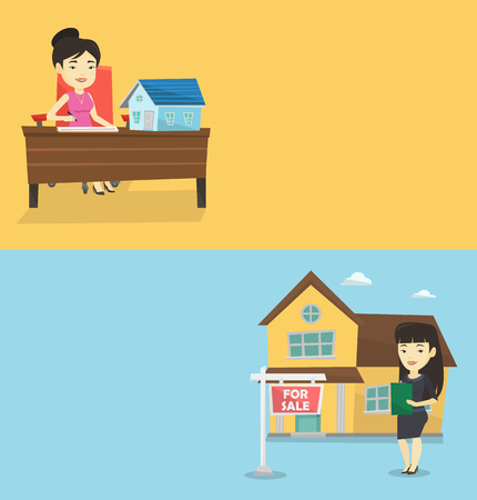 Two real estate banners with space for text. Vector flat design. Horizontal layout. Rreal estate agent signing home purchase contract Real estate agent standing in front of house with placard for sale