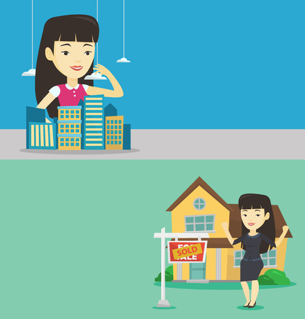 Two real estate banners with space for text. Vector flat design. Horizontal layout. Sales manager presenting a model of new city district. Sales manager working with a project of a new city district. Illustration
