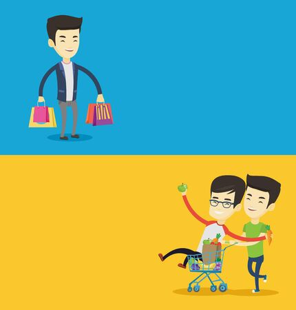 Two shopping banners with space for text. Vector flat design. Horizontal layout. Happy asian man pushing a shopping trolley with his friend. Young friends having fun while riding by shopping trolley.