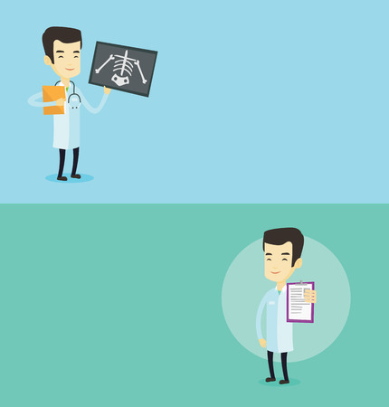 radiogram: Two medical banners with space for text. Vector flat design. Horizontal layout. Asian doctor showing patient records. Doctor showing clipboard with prescription. Doctor holding clipboard with notes.