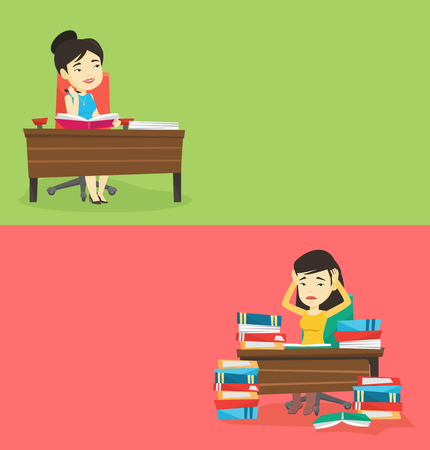 Two educational banners with space for text. Vector flat design. Horizontal layout. Student sitting at the table and thinking. Thinking student writing in exercise book Thinking student doing homework Illusztráció