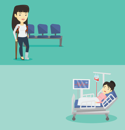 woman lying in bed: Two medical banners with space for text. Vector flat design. Horizontal layout. Woman lying in hospital bed with heart rate monitor. Patient lying in hospital bed during blood transfusion procedure. Illustration
