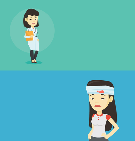 wound care: Two medical banners with space for text. Vector flat design. Horizontal layout. Upset asian woman with bandages over her head. Sad injured woman with a bandaged head. Young woman wounded in head.