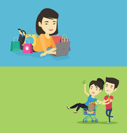 Two shopping banners with space for text. Vector flat design. Horizontal layout. Young asian woman using laptop for online shopping. Smiling woman lying with laptop and making online shopping order.