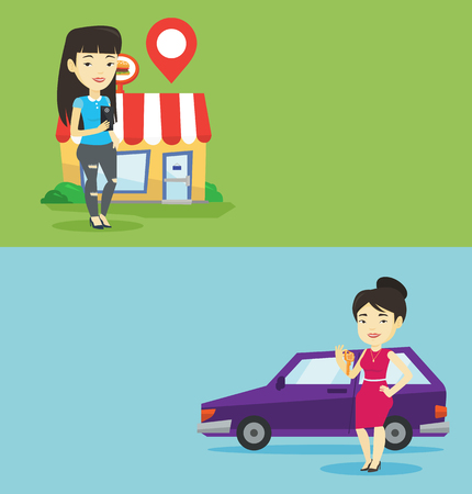 lady on phone: Two shopping banners with space for text. Vector flat design. Horizontal layout. Woman holding smartphone with app for looking for restaurant. Woman using smartphone app for searching of restaurant.