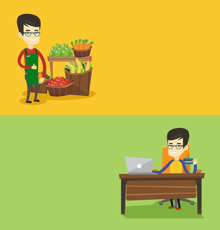 Two shopping banners with space for text. Vector flat design. Horizontal layout. Asian man sitting at the table with laptop and holding credit card in hand. Young man using laptop for online shopping. Illustration