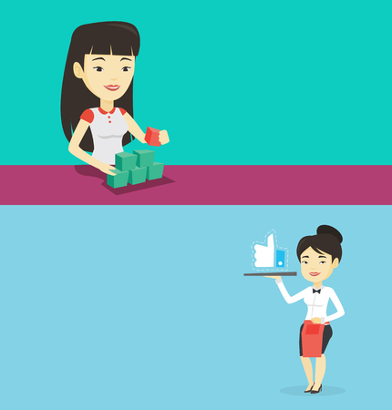 Two media banners with space for text. Vector flat design. Horizontal layout. Asian waitress carrying tray with social network like button. Young waitress holding restaurant tray with like button.