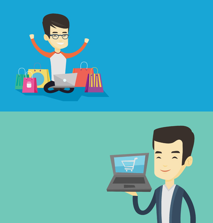 Two shopping banners with space for text. Vector flat design. Horizontal layout. Young asian man using laptop for online shopping. Man holding laptop with shopping trolley. Man doing online shopping.