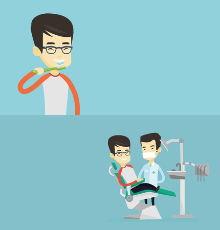 Two medical banners with space for text. Vector flat design. Horizontal layout. Young asian man brushing teeth. Smiling man cleaning teeth. Man taking care of his teeth. Guy with toothbrush in hand. Stock fotó - 78190270
