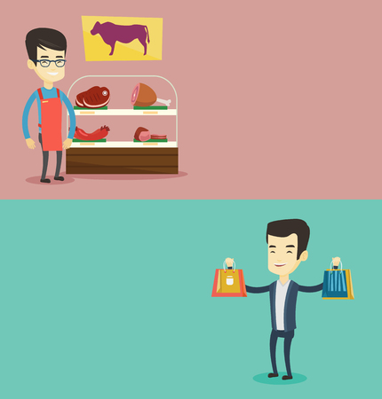 Two shopping banners with space for text. Vector flat design. Horizontal layout. Asian butcher offering meat at display in butchery. Young butcher standing on the background of storefront in butchery. Illustration