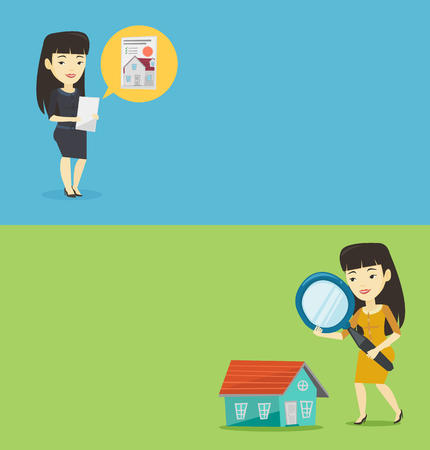 Two real estate banners with space for text. Vector flat design. Horizontal layout. Asian woman using a magnifying glass for looking for a new house. Woman with a magnifying glass checking a house
