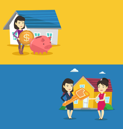 Two real estate banners with space for text. Vector flat design. Horizontal layout. Woman standing on the background of house and putting coin in piggy bank. Concept of investing money in real estate.