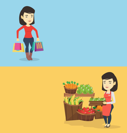 Two shopping banners with space for text. Vector flat design. Horizontal layout. Happy asian woman carrying shopping bags. Young woman holding shopping bags. Woman standing with a lot of shopping bags