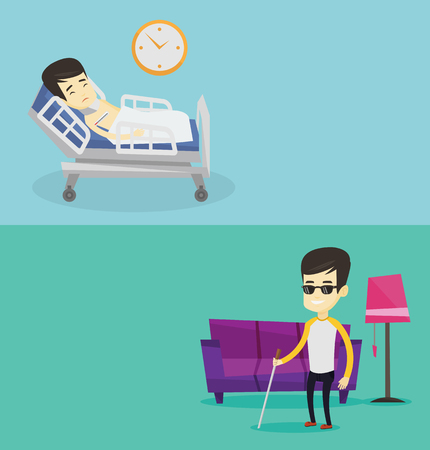Two medical banners with space for text. Vector flat design. Horizontal layout. Man wearing cervical collar and suffering from neck pain. Patient with injured neck lying in bed. Man with neck brace. Illustration