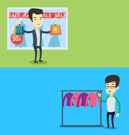 Two shopping banners with space for text. Vector flat design. Horizontal layout. Asian man shocked by price tag in clothing store. Man looking at price tag in clothing store. Man staring at price tag.