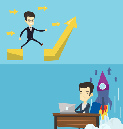 Two business banners with space for text. Vector flat design. Horizontal layout. Businessman facing with business obstacle. Asian successful businessman coping with business obstacle successfully. Illustration