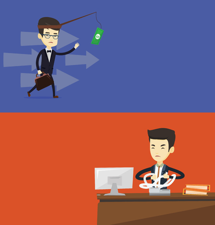 Two business banners with space for text. Vector flat design. Horizontal layout. Money on fishing rod as motivation for business man. Asian business man motivated by money hanging on fishing rod.