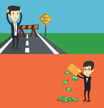 Two business banners with space for text. Vector flat design. Horizontal layout. Depressed asian bankrupt shaking out money from briefcase. Despaired young bankrupt business man emptying briefcase. Illustration