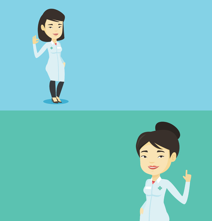 Two medical banners with space for text. Vector flat design. Horizontal layout. Young asian doctor with finger up. Doctor in medical gown showing finger up. Woman in doctor uniform pointing finger up. Illustration