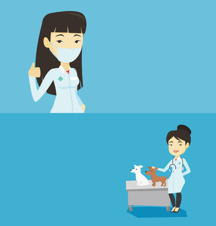 Two medical banners with space for text. Vector flat design. Horizontal layout. Young asian veterinarian with stethoscope examining dogs in hospital. Veterinarian with dogs at veterinary clinic.