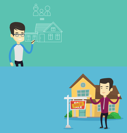 Two real estate banners with space for text. Vector flat design. Horizontal layout. Full length of young successful asian real estate agent standing in front of sold real estate placard and house. Illustration