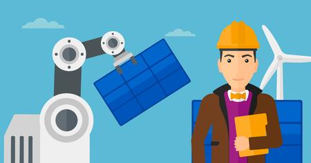 automate: Robotic arm installing solar power pannel.