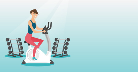 Young woman riding stationary bicycle. Ilustracja