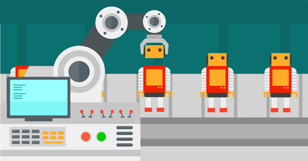 Robotic production line for assembly of toys.