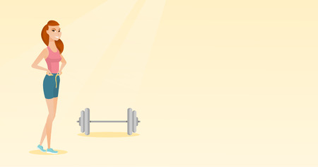 Woman measuring her waistline with tape. Woman measuring with tape the waistline. Happy woman with centimeter on waistline standing near a barbell. Vector flat design illustration. Horizontal layout. 向量圖像